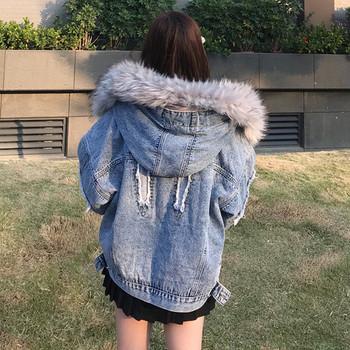 Γυναικείο μπουφάν  denim με κουκούλα και απαλή επένδυση
