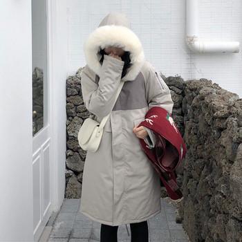 Дамско зимно яке дълъг модел с качулка в светъл цвят