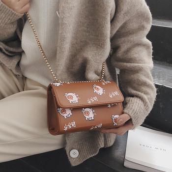 Мини дамска чанта с картинки от еко кожа в три цвята