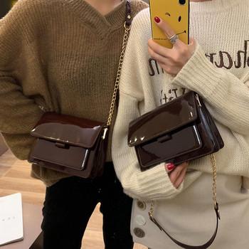 Κομψή γυναικεία λουστρίν τσάντα σε τρία χρώματα