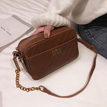 Модерна дамска чанта от еко кожа в кафяв, черен и бордо цвят