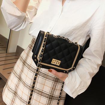 Стилна дамска чанта от еко кожа с метални елементи в три цвята