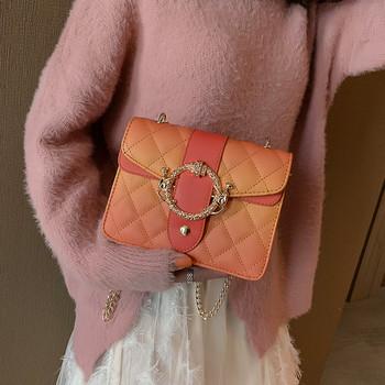 Малка стилна дамска чанта от еко кожа в четири цвята