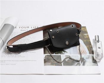 Μοντέρνα γυναικεία ζώνη με πορτοφόλι και μεταλλική αλυσίδα σε μαύρο χρώμα