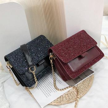 Стилна дамска чанта от еко кожа с лъскави елементи в четири цвята