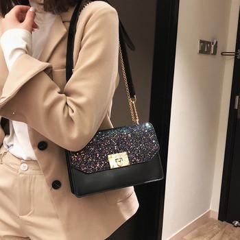 Κομψή γυναικεία  δερματίνη τσάντα σε μαύρο, καφέ και κόκκινο χρώμα