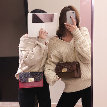 Стилна дамска чанта от еко кожа в черен, кафяв и червен цвят