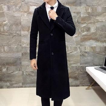 Κομψή ανδρικό μακρύ παλτό με κολάρο σε σχήμα V σε μαύρο χρώμα - Badu ... 47953d55482