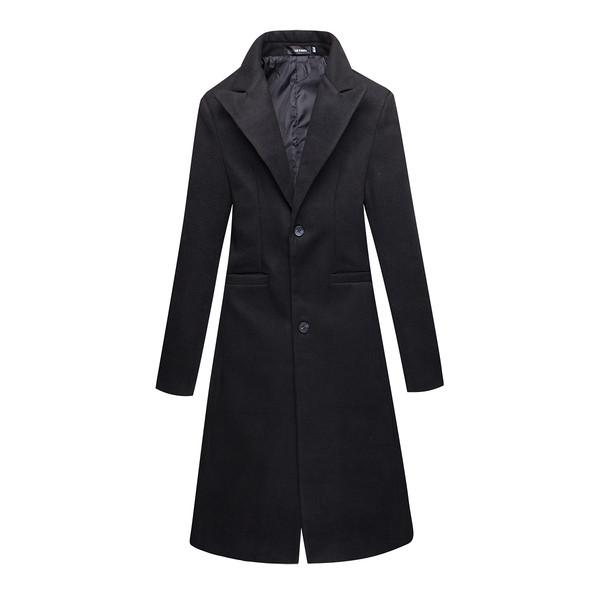 Κομψή ανδρικό μακρύ παλτό με κολάρο σε σχήμα V σε μαύρο χρώμα - Badu.gr Ο κόσμος  στα χέρια σου 8c8a3fd0639