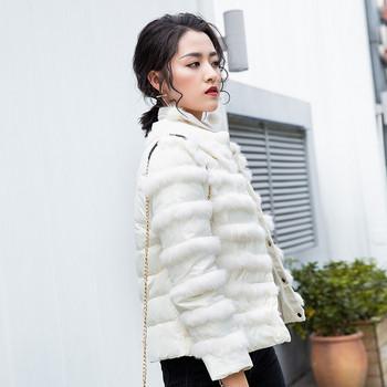 Μοντέρνο γυναικείο μπουφάν με λευκό και μαύρο χρώμα