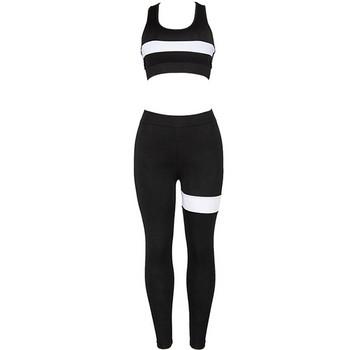 Спортен дамски комплект в черно от две части