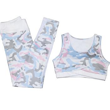 Дамски спортен комплект клин + бюстие в камуфлажен десен - два цвята