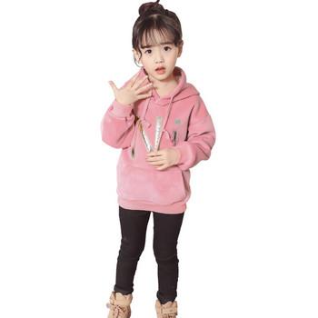 Ежедневен детски зимен  суичър за момичета с джоб в няколко цвята