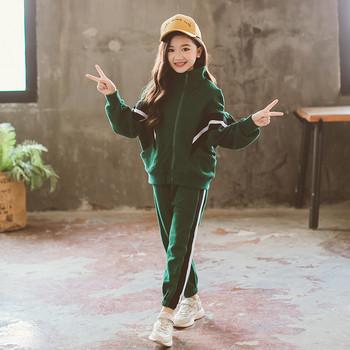 29e0e4ce42f Детски спортен екип за момичета от две части в зелен и черен цвят ...