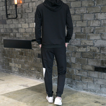 Мъжки спортен комплект от две части в черен цвят