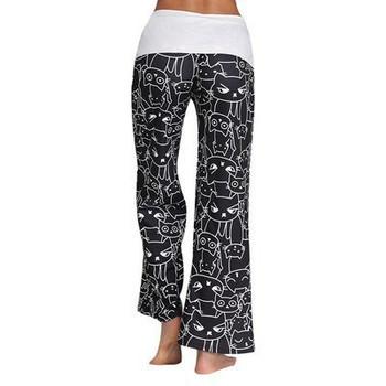 Спортен дамски панталон с апликация в бял и черен цвят