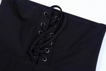 Модерен дамски клин с връзки в черен цвят