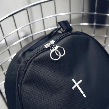 Ежедневна раница с бродерия в черен цвят - два модела подходяща за мъже и жени