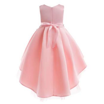 НОВО елегантна детска рокля с бродерия в розов и сив цвят