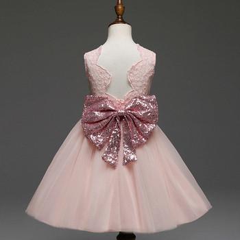 Стилна рокля за момичета с панделка на гърба