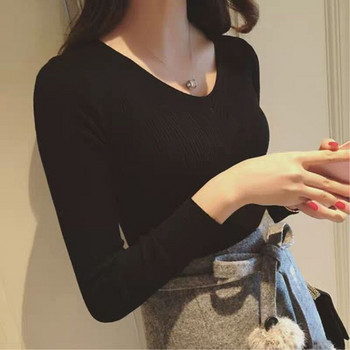 Стилен дамски  пуловер с V-образно деколте в три цвята