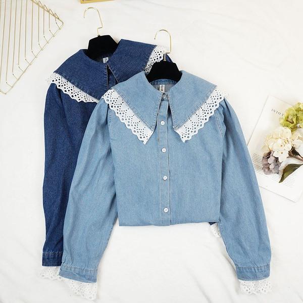bc751e1ff4a Модерна дамска дънкова риза с дантела в светъл и тъмен цвят - Badu.bg -  Светът в ръцете ти
