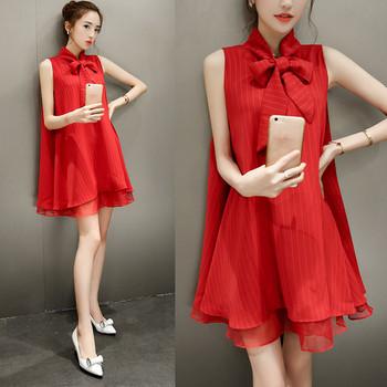 Дамска рокля с панделка в червен цвят