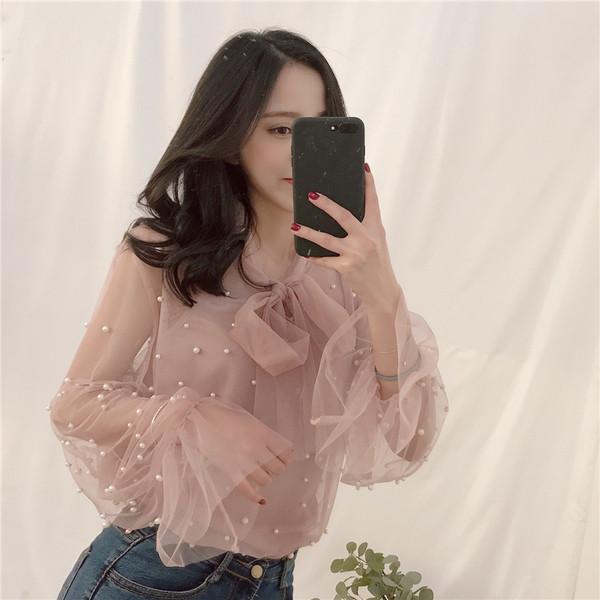 525727b9c18 Дамска елегантна дантелена блуза с перли в няколко цвята - Badu.bg - Светът  в ръцете ти