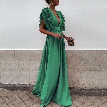 Елегантна дамска дълга рокля с V-образно деколте в шест цвята