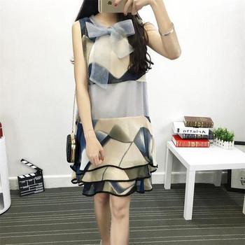 Стилна дамска рокля от шифон с елемент панделка