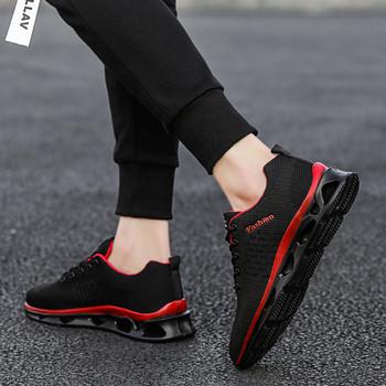 Нови мъжки дишащи маратонки в черен и бял цвят