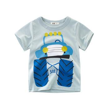 Детска ежедневна тениска за момчета с къс ръкав и апликация