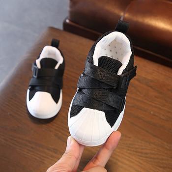 Детски пролетни обувки с лепенки за момичета в сив,черен и розов цвят