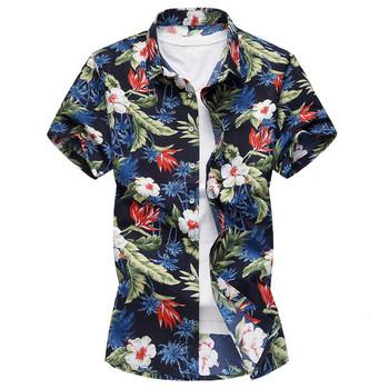 c73f5c36e7 Ανδρικό πουκάμισο με κοντό μανίκι και floral μοτίβο - Badu.gr Ο ...
