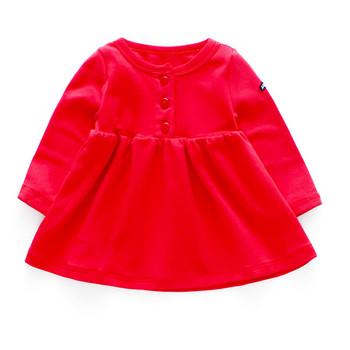 Παιδικό φόρεμα με μακριά μανίκια και κουμπιά σε κίτρινο και κόκκινο χρώμα 8f78540f6b6