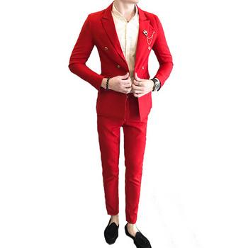 Елегантен мъжки костюм в няколко цвята включващ сако с двойно закопчаване и панталон