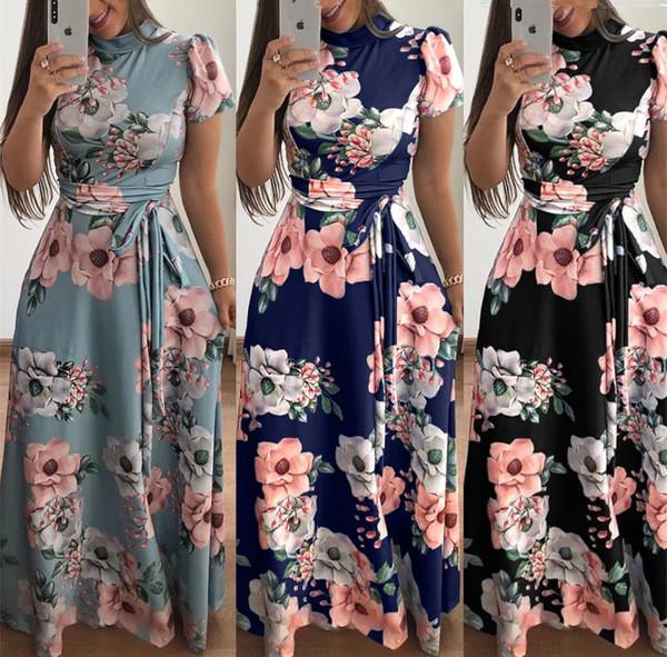 aecc1f2bcda Модерна дамска дълга рокля с флорален мотив в три цвята - Badu.bg - Светът  в ръцете ти
