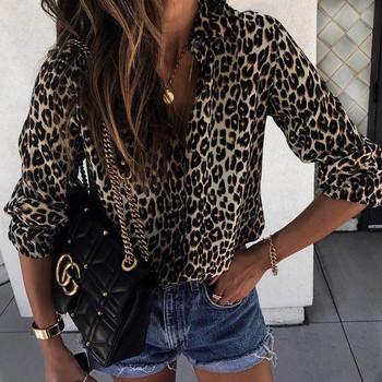 Стилна дамска риза с леопардов десен в три цвята