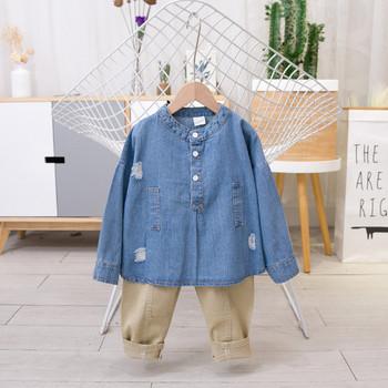 Μοντέρνο παιδικό πουκάμισο τζιν για αγόρια με μακριά μανίκια και κουμπιά 9333f99b5a3