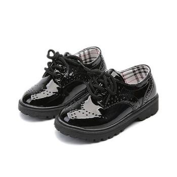 Ежедневни детски обувки за момичета от еко кожа в черен цвят