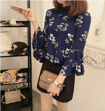 Модерна дамска риза с флорален мотив и лотос ръкав в два цвята