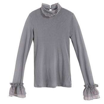 Μοντέρνα γυναικεία μπλούζα με μακριά μανίκια και τούλι σε διάφορα χρώματα 11a9f68163a