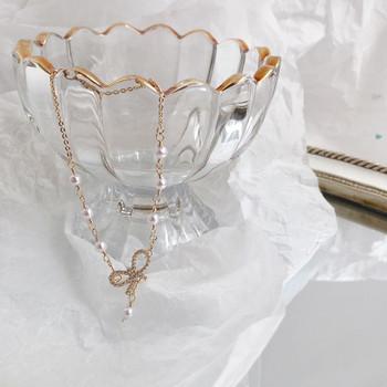 Дамска модерна гривна с декоративни камъни и перли