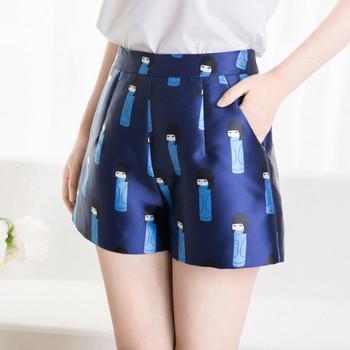НОВО Актуални дамски къси панталони с цветна апликация