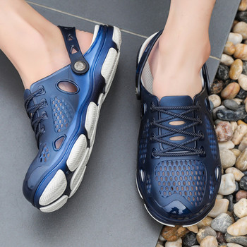 Небрежни мъжки сандали с мрежа и декоративни връзки