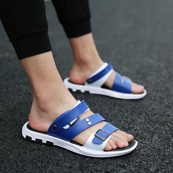 Небрежни мъжки сандали с надпис в три цвята