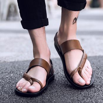Стилни мъжки сандали в три цвята от еко кожа
