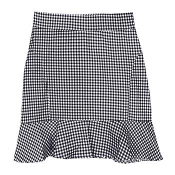 Модерна дамска карирана пола с висока талия