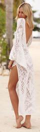 Γυναικείο παρέο από  δαντέλα σε λευκό χρώμα