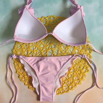 Модерен бански костюм с 3D елемент в розов цвят